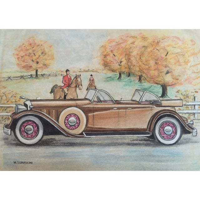 Original Vintage 1950's Pastel Lincoln Car Drawing - Image 1 of 6