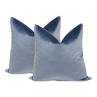Italian Silk Velvet Pillows in Prussian - A Pair
