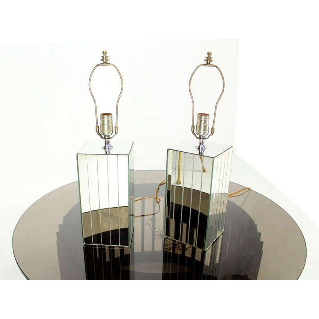 Glass Vintage Mid-Century Mirrored Table Lamps - A Pair For Sale - Image 7 of 8