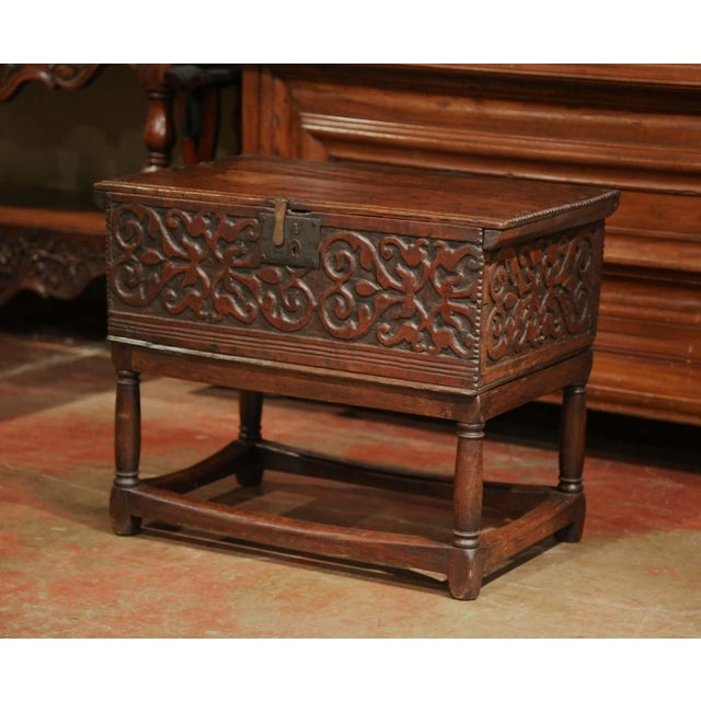 Brown 18th Century, French, Louis XIII Carved Oak Trunk Side Table With Floral Decor For Sale - Image 8 of 8