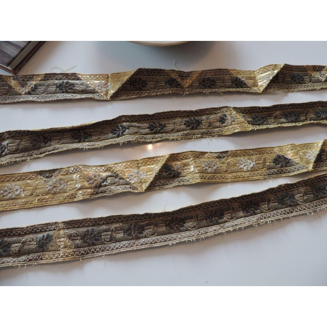Late 19th Century 19th Century Set of (4) Tarnish Gold Metallic Woven Decorative Trims For Sale - Image 5 of 7