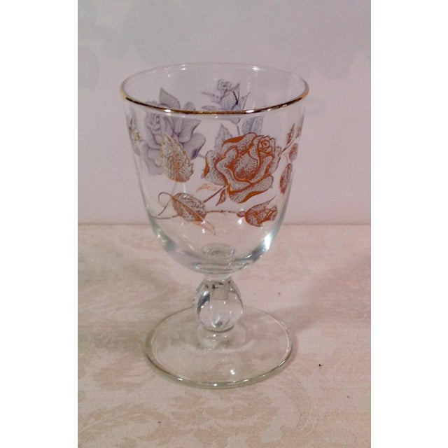 Mid-Century White Rose & Gold Glasses - Set of 14 - Image 6 of 7