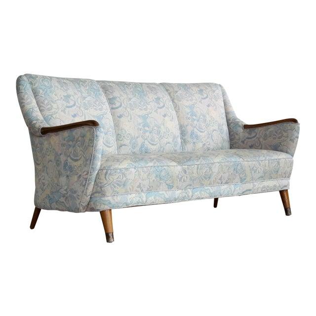 Danish Midcentury Sofa With Teak Armrests For Sale