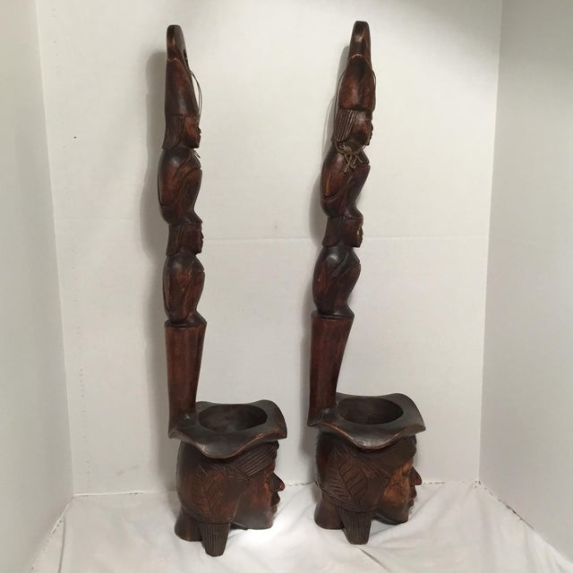 South East Asian Wooden Folk Art Statues For Sale - Image 5 of 11