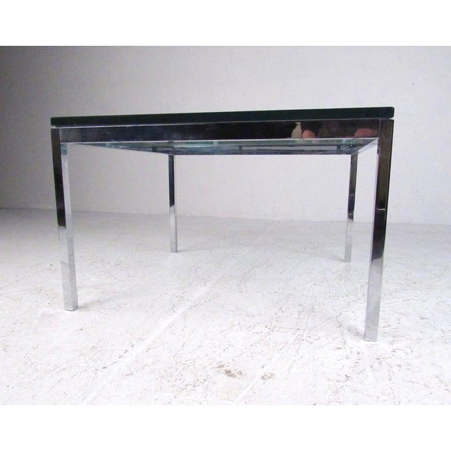 Pair of Mid-Century Modern Chrome and Glass Coffee Tables For Sale - Image 4 of 11