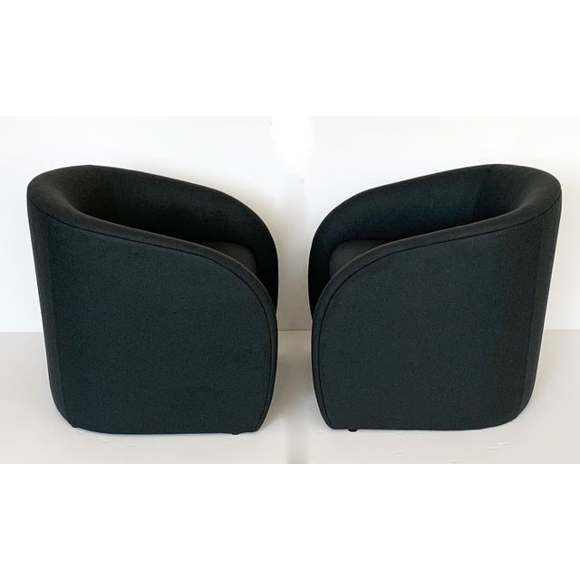 Mid-Century Modern Pair of Directional Fully Upholstered Barrel Lounge Chairs For Sale - Image 3 of 13