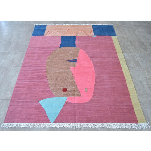 Paul Klee Paul Klee - Clown - Inspired Silk Hand Woven Area - Wall Rug 4′4″ × 5′10″ For Sale - Image 4 of 11
