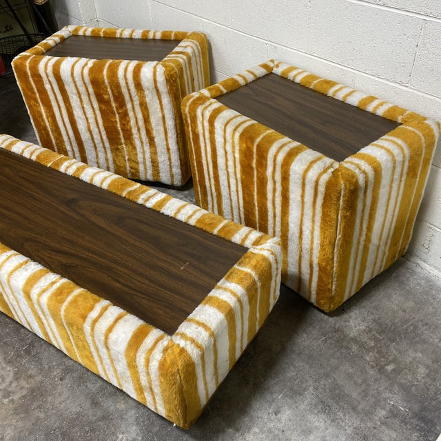 Selling this groovy carpeted table set. It could easily double as benches, or display stand, whatever your Austin Powers...