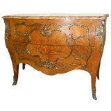 Image of Louis XVI Style Marble-Top Bombe Commode or Chest of Drawers, 19th Century For Sale