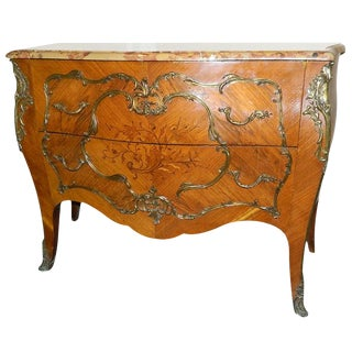 Louis XVI Style Marble-Top Bombe Commode or Chest of Drawers, 19th Century For Sale