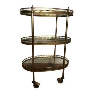 Vintage Brass 3-Tier Bar Cart
