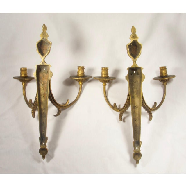 French Antique French Empire Torche Bronze Sconces - a Pair For Sale - Image 3 of 6