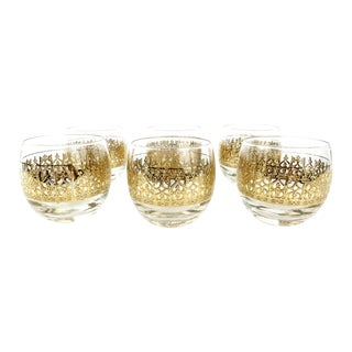 Vintage Gold Leaf Roly Poly Glasses