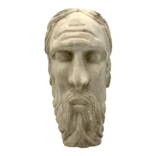 Neoclassical Carved Stone Roman Head of Bearded Man