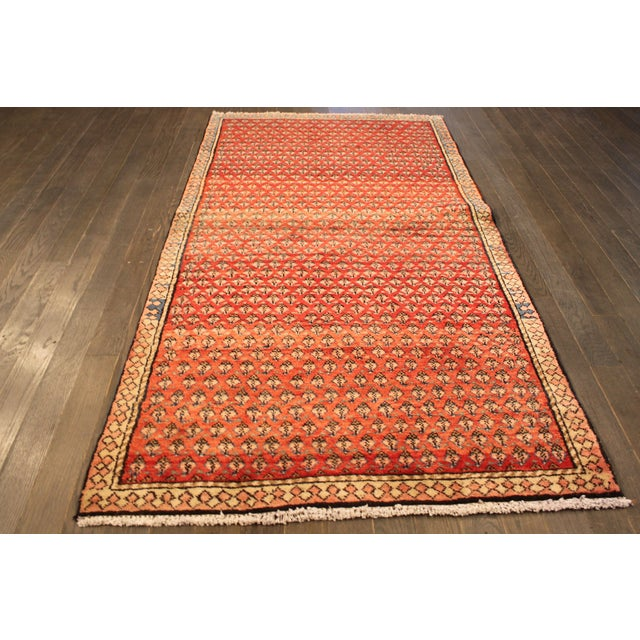 "Vintage Red & Orange Persian Rug - 3'6"" X 6'10"" - Image 2 of 4"