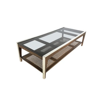 Mid Century Modern Coffee Table in Rattan, Chrome and Walnut For Sale