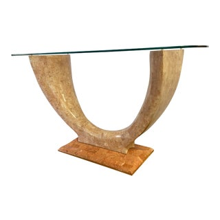 Art Deco Curved Marble Console Table Bar With Glass Top For Sale