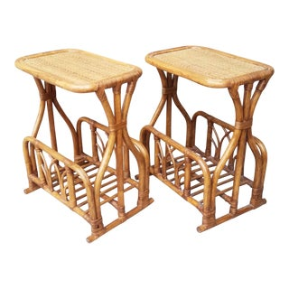 1970s Boho Chic Rattan Side Tables With Magazine Racks - a Pair For Sale