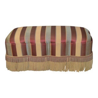 Transitional Style Bench Multi Colored Stripe Fabric W/Fringe