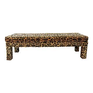 Ballard Serengeti Velvet Jamil Leopard Upholstered Bench For Sale