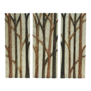 "1990s ""Branches"" Tessellated Stone Wall Sculpture - 3 Pieces For Sale"