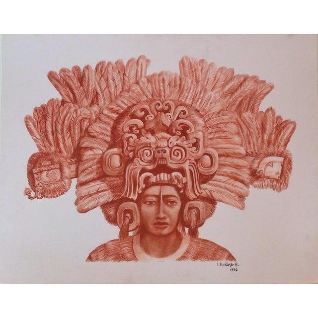"Illustration of Mayan Headdress, ""Penacho Ceremonial De Sacerdote Maya"" For Sale In San Francisco - Image 6 of 6"