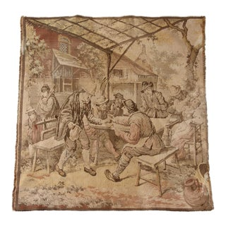 Antique French Tavern Scene Tapestry For Sale