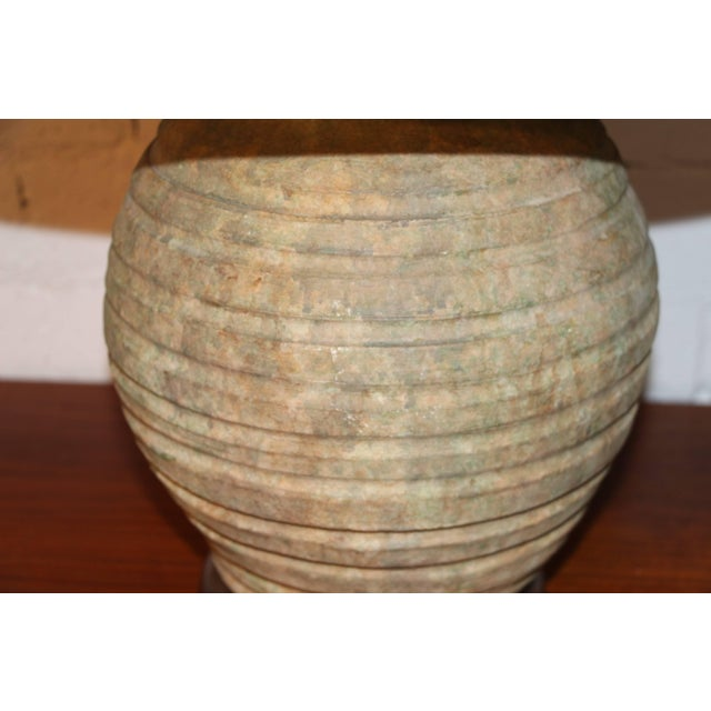 Boho Chic Ribbed Stone Ware Pottery Lamps - a Pair For Sale - Image 3 of 6