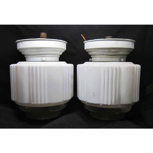 Glass White Milk Glass Wedding Cake Flush Mount Fixtures For Sale - Image 7 of 7
