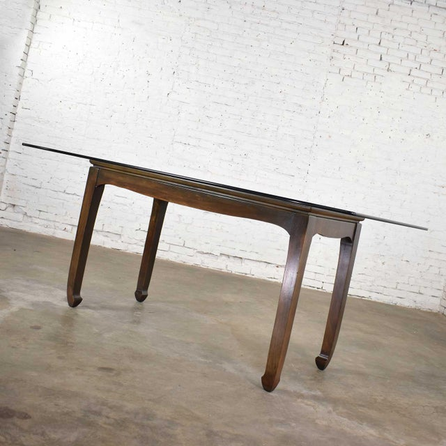 Vintage Chinoiserie Chow Leg Glass Top Dining Table Walnut Color Finish For Sale - Image 10 of 13