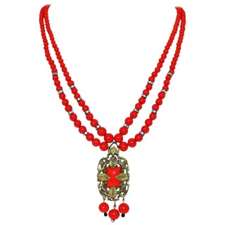 1930s Red Beaded Pendant Necklace For Sale