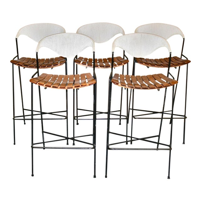 Vintage Arthur Umanoff Wrought Iron Barstools - Set of 5 - Image 1 of 11