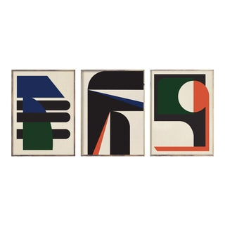 """""""Abstract Tri-Color Graphic """" - Set of Three Paintings For Sale"""