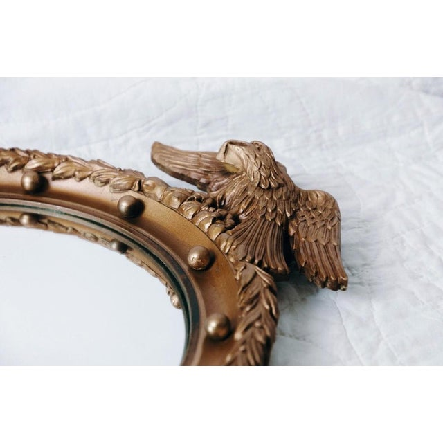 1950s Vintage Gilt Wood Federal Eagle Convex Mirror For Sale - Image 5 of 8