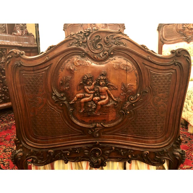 Pair Antique French Museum Quality Walnut Beds, Circa 1860-1880. One of the Finest Examples of Wood Carver's Art of the 19th Century. For Sale In New Orleans - Image 6 of 9