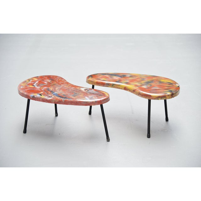 French Kidney Shaped Tables France 1960 - a Pair For Sale - Image 3 of 9