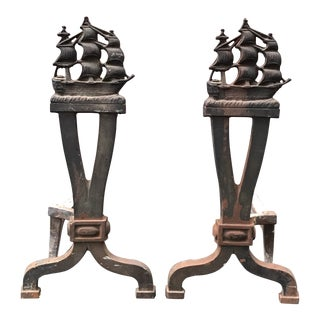 Antique Ship Fireplace Andirons For Sale