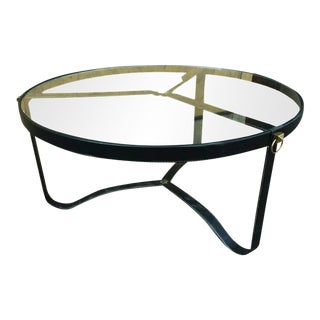 Jacques Adnet 1940s Black Hand-Stitched Leather Tripod Coffee Table