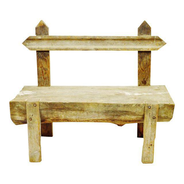 "Antique Primitive ""Petrified"" Wood Log Bench For Sale - Image 13 of 13"