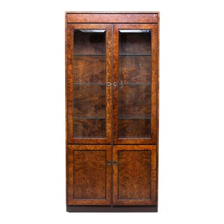 Widdicomb Mid Century Dark Olive Wood Tall Glass Front Cabinet For Sale