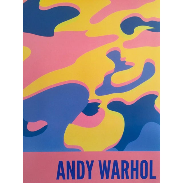 """Andy Warhol Original Lithograph Pop Art Poster """"Pink Camouflage"""" 1987 For Sale - Image 5 of 10"""