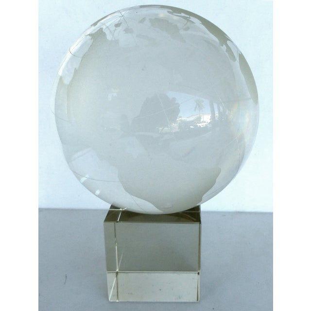 Etched Crystal Globe on Stand - Image 6 of 8