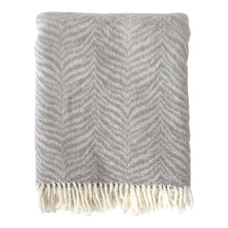 Fringed Gray Tiger Throw Blanket