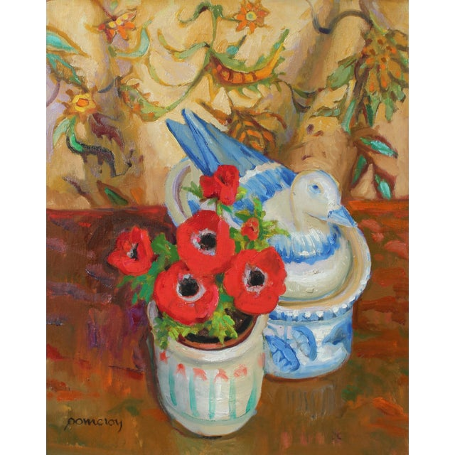 Still Life With Red Anemone Flowers, Oil on Canvas Painting, Late 20th Century For Sale