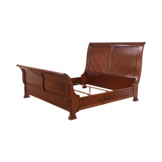 King Size Cherry Mahogany Sleigh Bed For Sale