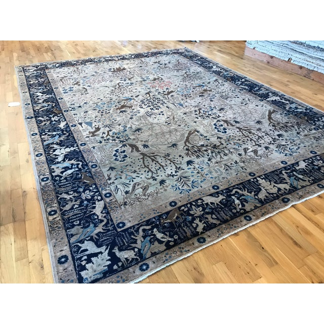 Persian Antique Tabriz Pictorial Wool Rug - 9′4″ × 12′4″ For Sale - Image 3 of 11