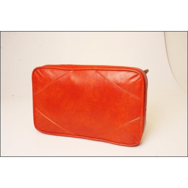 Mid-Century Modern Orange Vinyl Foot Stool - Image 9 of 11