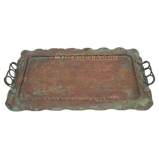 Hand-Crafted Vintage Copper Tray For Sale