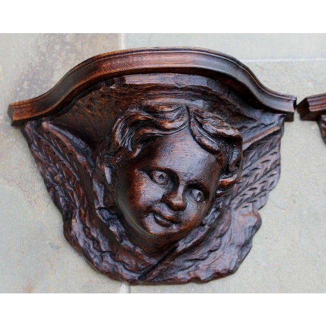 Exquisite Antique French Pair Of Victorian Era Gothic Cherub Or Angel Wall Shelves Or Corbels. Hand-Carved Faces And Wings...