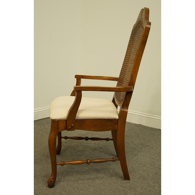 Late 20th Century Vintage Bernhardt Furniture French Provincial Cane Back Dining Arm Chair For Sale In Kansas City - Image 6 of 11